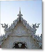 Closeup Of Gable Decoration Inin Wat Rong Khun In Chiang Rai Thailand  Metal Print