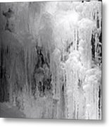 Closeup Of Icy Waterfall - Black And White Metal Print