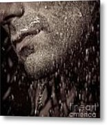 Closeup Of Mans Chin With Stubble Metal Print