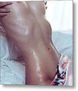 Closeup Of Wet Sexy Woman Body Metal Print