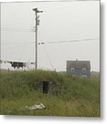 Clothes Line And Fog Metal Print