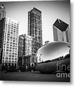 Cloud Gate Bean Chicago Skyline In Black And White Metal Print by Paul Velgos