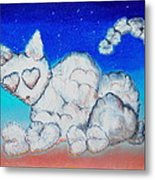 Cloud Kitty Metal Print