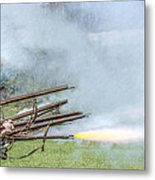 Cloud Of Smoke Volley Fire Metal Print