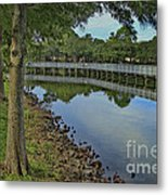 Cloud Reflection At The Pond Metal Print