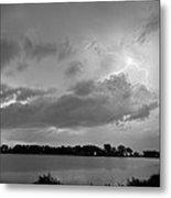 Cloud To Cloud Lake Lightning Strike In Bw Metal Print