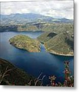 Clouds And Shadows On Lake Cuicocha Metal Print