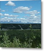 Clouds Mountains And Trees Metal Print