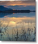 Clouds On The Pink Water Metal Print