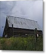 Cloudy Barn Metal Print