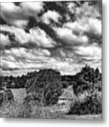 Cloudy Countryside Collage - Black And White Metal Print