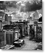 Cloudy Day At St. Louis Cemetery In Black And White Metal Print