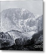 Cloudy Misty Pikes Peak Metal Print