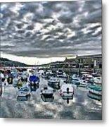 Cloudy Morning - Lyme Regis Harbour Metal Print