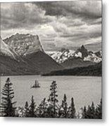 Cloudy Mountain Top Metal Print