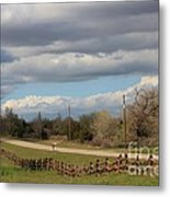 Cloudy Sky With A Log Fence Metal Print