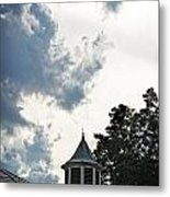 Cloudy Steeple Metal Print
