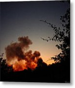 Clover Fire At Night Metal Print