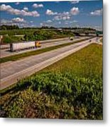 Clover Leaf Exit Ramps On Highway Near City Metal Print