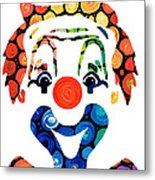 Clownin Around - Funny Circus Clown Art Metal Print