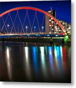 Clyde Arc Glasgow At Night Metal Print