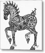 Clydesdale Foal - Zentangle Metal Print