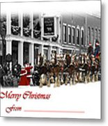 Clydesdale  Team Christmas Card Metal Print