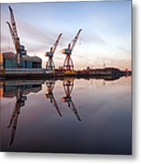 Clydeside Cranes Long Exposure Metal Print
