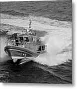 Coast Gaurd In Action In Black And White Metal Print