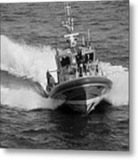 Coast Guard In Black And White Metal Print