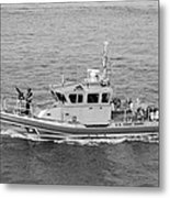 Coast Guard On Patrol In Black And White Metal Print