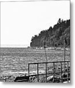 Coast Line B And W Metal Print