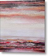 Coast Rhythms And Textures Red And Black 1 Metal Print
