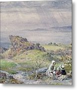 Coast Scene With Children In The Foreground, 19th Century Metal Print