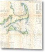 Coast Survey Map Of Cape Cod Nantucket And Marthas Vineyard Metal Print