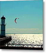 Coast To Coast Sea To Sky Flies Curiosity Crescent Kite Night Scenes On The Canal Carole Spandau Metal Print
