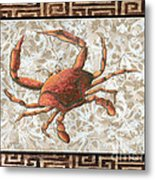 Coastal Crab Decorative Painting Greek Border Design By Madart Studios Metal Print