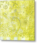 Coastal Decorative Citron Green Floral Greek Checkers Pattern Art Green Whimsy By Madart Metal Print