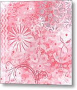 Coastal Decorative Pink Peach Floral Chevron Pattern Art Pink Whimsy By Madart Metal Print