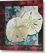 Coastal Decorative Shell Art Original Painting Sand Dollars Asian Influence I By Megan Duncanson Metal Print