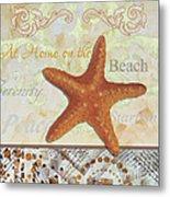 Coastal Decorative Starfish Painting Decorative Art By Megan Duncanson Metal Print