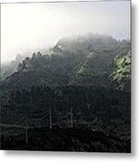 Coastal Fog And Power Poles Metal Print