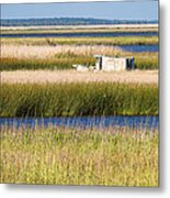 Coastal Marshlands With Old Fishing Boat Metal Print by Bill Swindaman