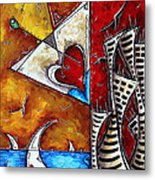 Coastal Martini Cityscape Contemporary Art Original Painting Heart Of A Martini By Madart Metal Print