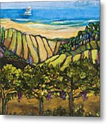 California Coastal Vineyards And Sail Boat Metal Print