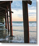 Coastal Sunset At Oceanana Fishing Pier Metal Print