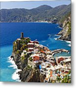 Coastal Town On A Cliff Metal Print by George Oze
