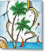 Coastal Tropical Art Contemporary Sailboat Kite Painting Whimsical Design Summer Daze By Madart Metal Print
