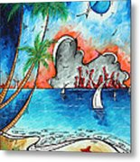 Coastal Tropical Beach Art Contemporary Painting Whimsical Design Tropical Vacation By Madart Metal Print