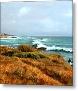 Coastal Waves Roll In To Shore Metal Print
